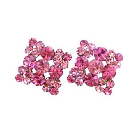 Favorite Sparkling Rose Pink Crystals Stylish & Stud Pierced Earring