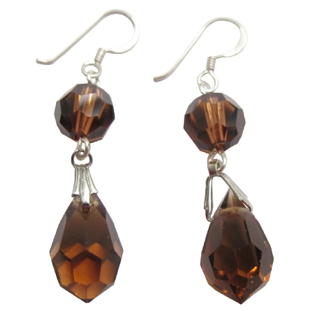 Swarovski Smoked Topaz Crystal Ball & Teardrop 92.5 Silver Earrings