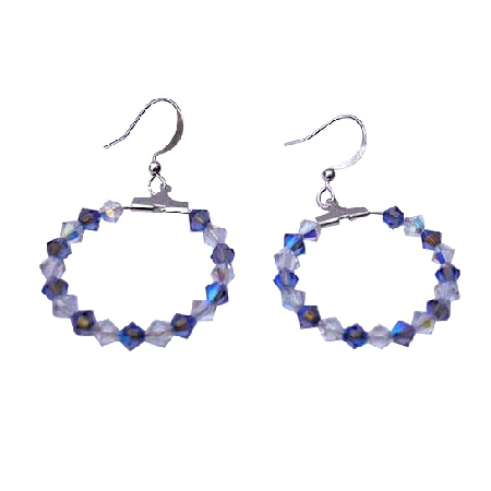 Sapphire Swarovski Crystal AB Crystal Sterling Silver Hoop Earrings