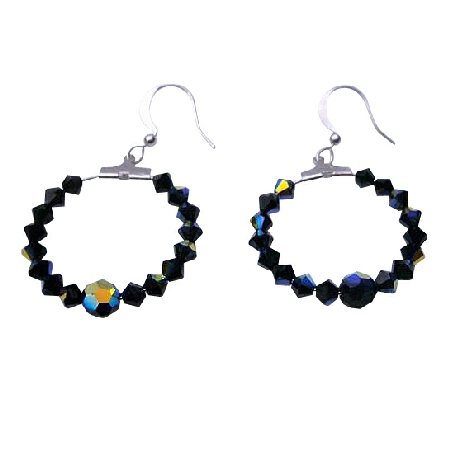 FashionJewelryForEveryone.com ERC191 Jet Black Swarovski AB Jet and Jet Crystal Hoop Earrings Genuine Swarovsk Crystal Earrings