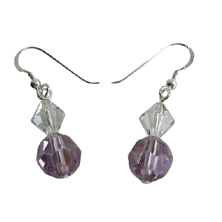 Swarovski Violet & AB & Clear Crystal Sterling Silver Hook Earrings
