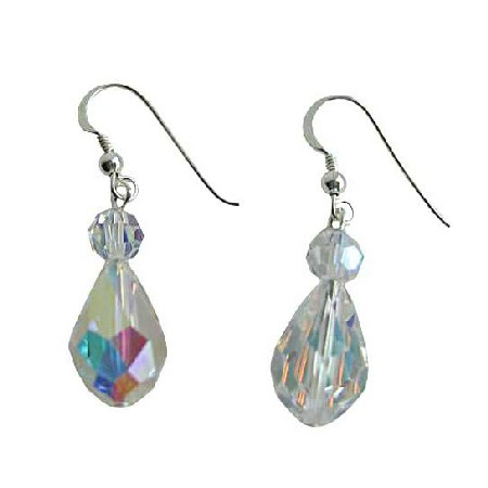 Swarovski AB Crystal 20mm AB Crystal TearDrop Sterling Silver Earrings
