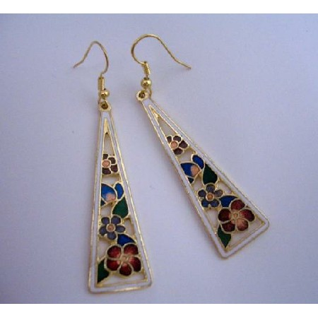 Hand Painted Flowers Dangle Earrings Gold Plated Hand Work Jewelry