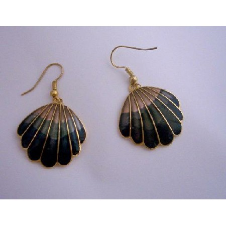 Vintage Hand Painted Dangle Earrings Gold Plated Hand Work Jewelry