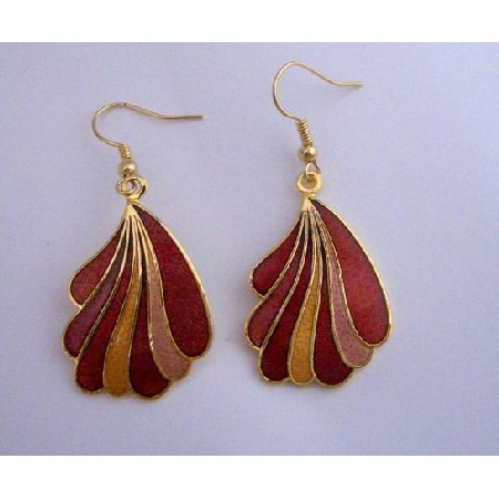 Hand Painted Dangle Earrings Gold Plated Hand Work Jewelry