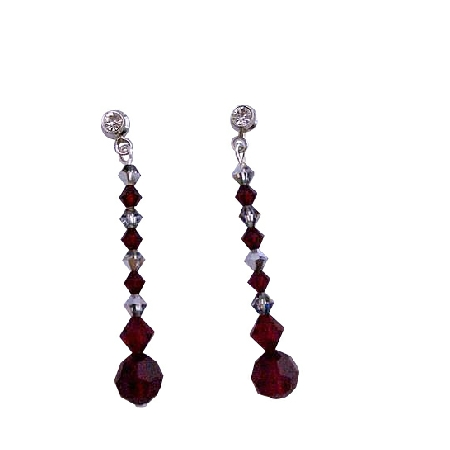 Meridian Blue Dark Siam Red Swarovski Crystals Surgical Post Earrings