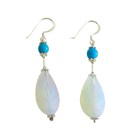Moonstone Glass Bead Earrings w/ Turquoise Sterling Silver Earring