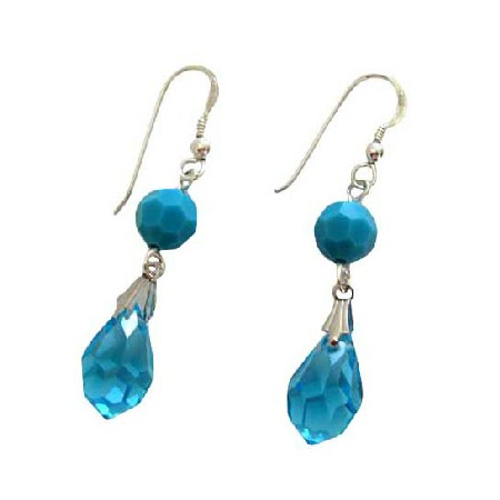 Blue Aquamarine Swarovski Crystal Tear Drop Sterling Silver Earrings