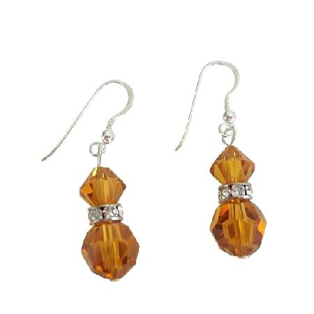 Swarovski Topaz Crystal Round Bicone Crystal Silver Rondells Earrings
