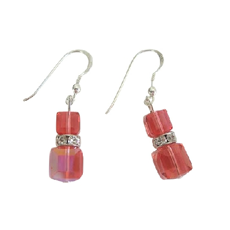 Padparadscha Swarovski Crystal Sterling Silver Chandelier Earrings