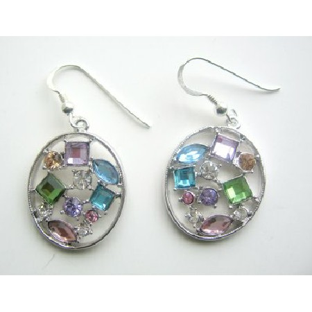 Multi Colored Crystals Hoop Earrings