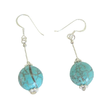 Handcrafted Turquoise Earrings 12mm Turquoise Round Bead Silver Tube