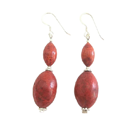 Earrings Coral 14mm 10mm Oval Beads Sterling Silver Earrings