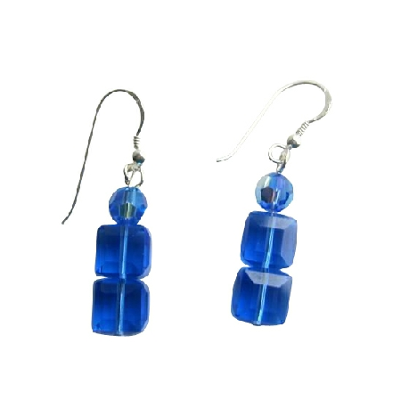 Sapphire Cube & Round Swarovski Crystals Sterling Silver Earrings