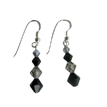 Black Diamond Jet Swarovski Bicone Crystals Sterling Silver Earrings