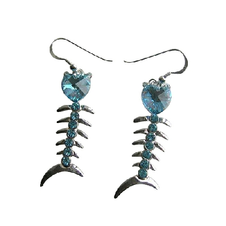 Aquamraine Swarovski Crystal Heart Fish Chandelier Dangling Earrings
