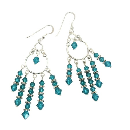 Blue Zircon Crystal Chandelier Sterling Silver Swarovski Earrings