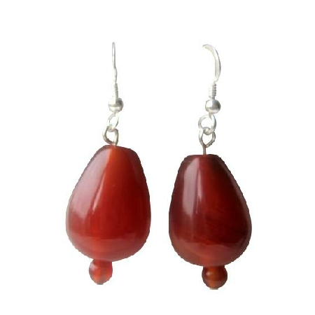 Carnelian Bead 18mm Sterling Silver 92.5 French Hook Earrings