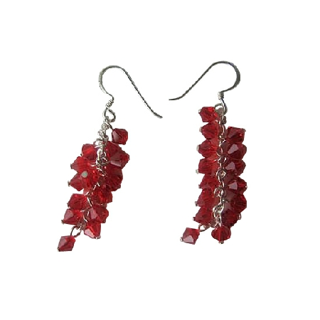 Red Siam Crystal Sterling Silver 92.5 Swarovski Earrings