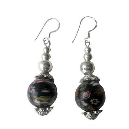Black Round Millefiori Self Designed Bead Earring Bali Silver Earrings