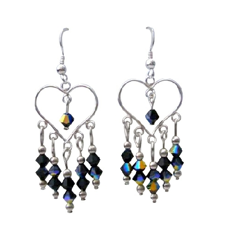 Sterling Silver Heart Earrings w/ AB Jet Swarovski Crystal Earrings