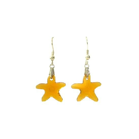 Swarovski Topaz Crystals Starfish Jewelry w/ Sterling Silver Earrings
