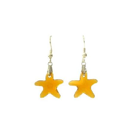 Swarovski Topaz Crystals Starfish Jewelry w/ Sterling Silver Earrings