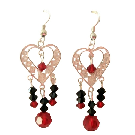 Sterling Silver Heart Chandelier Earrings Swarovski Crystals