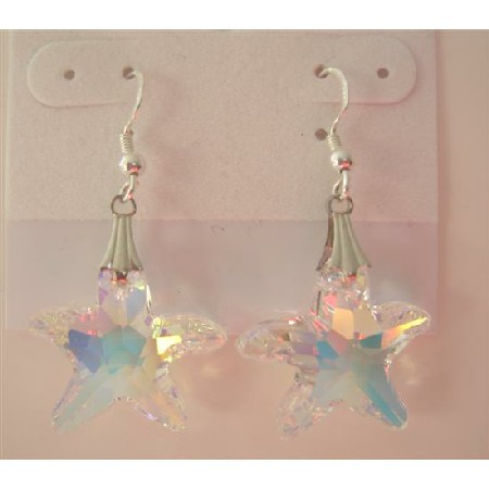 Swarovski AB Crystal Starfish 22mm Sterling Silver Earrings