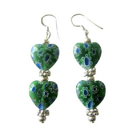 Millefiori Heart Earrings Designed Bead Earrings Bali Silver Earrings