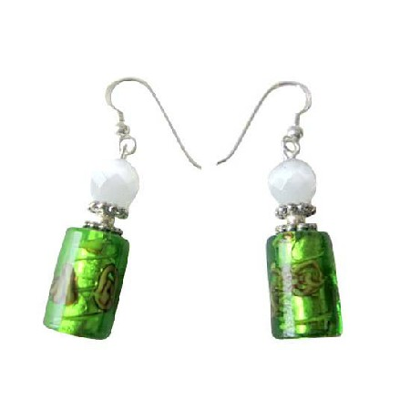 White Cat Eye & Green Cylindrical Millefiori Designed Bead Earrings