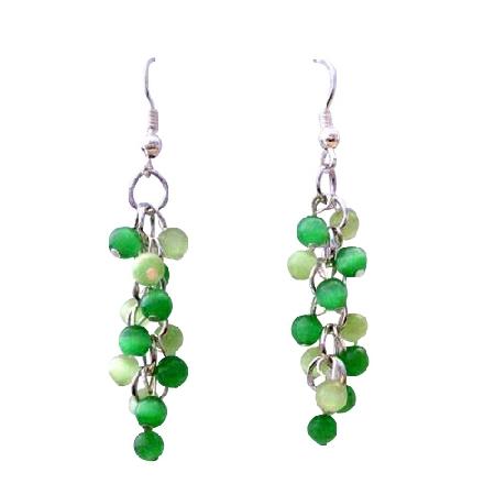 Green Cat Eye Sterling Silver Earrings Peridot & Lime Cat Eye Earrings