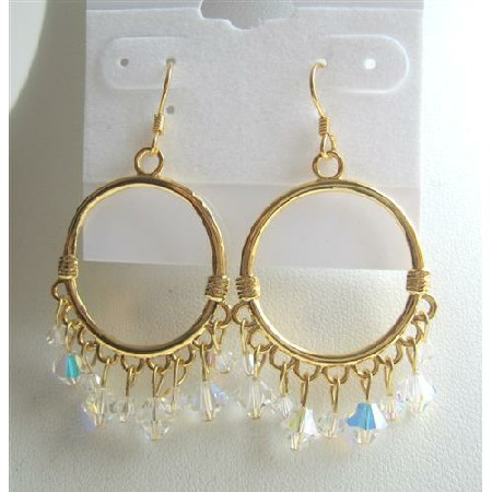 AB Swarovski Crystals Earrings 22k Gold Plated Hoop Earrings