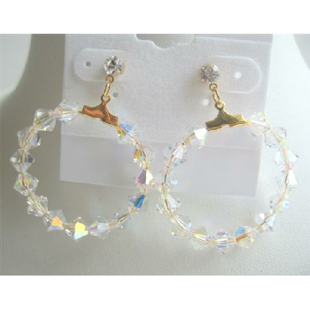 Swarovski AB Bicone Crystals in 22k Gold Plated Hoop Earrings