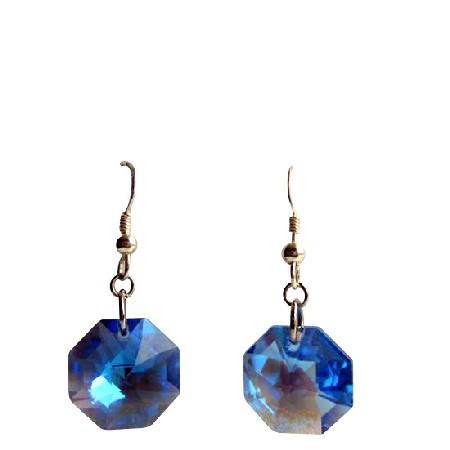 Blue Sapphire Swarovski Crystal Multifacted Octagon 15mm Earrings