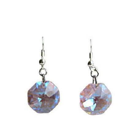 Pink Octagon 15mm Multifaceted Crystal Sterling Silver Earrings