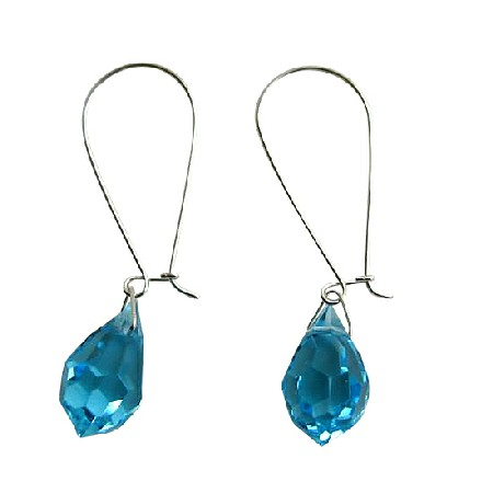 Czech Aquamarine Crystal Teardrop Sterling Silver Hoop Earring