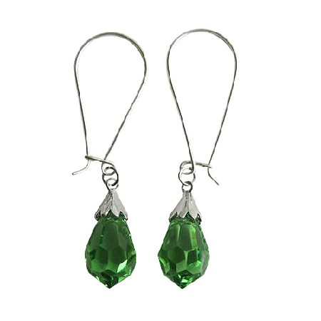 Peridot Czech Crystal Teardrop Sterling Silver 92.5 Hoop Earrings