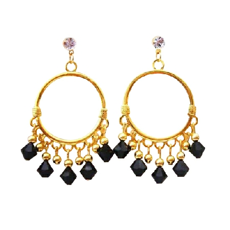 Black Jet Swarovski Crystal 22k Gold Plated Chandelier Earrings