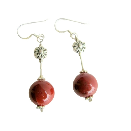 Sterling Silver 925 Tube Coral 10mm Round Bead Daisy Spacer Earrings