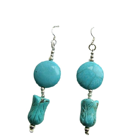 Turquoise Shape beads w/ Flat Round Turquoise Sterling Silver Earrings