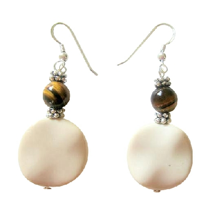 White Flat Jasper Earrings w/ Tiger Bead Daisy Spacer Silver Earrings