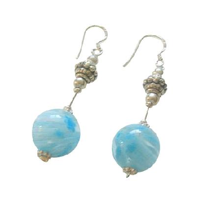 Venetian Glass Bead Earrings & Bali Spacer Sterling Silver Earrings