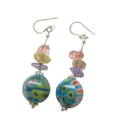 Sterling 925 Silver Glass Beaded Venetian Multi Colored Chips Earrings