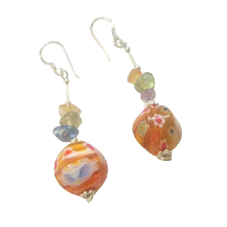 MultiColored Stone Chips w/ Venetian Glass Bead Silver Earrings