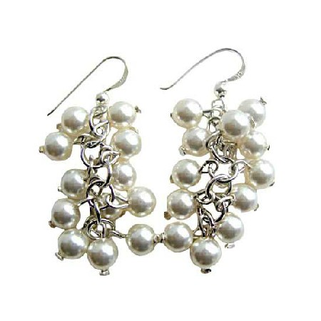 White Pearls 8mm Buches Earrings Sterling Silver Pearls Earrings