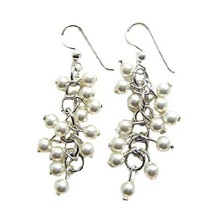 White Pearls Earrings Sterling Silver Swarovski Jewelry