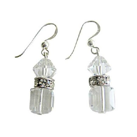 Trendy Classy Earrings Swarovski Clear Crystals Silver Rondells Spacer