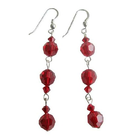 Sterling Silver Earrings Swarovski Siam Red Crystals Earrings