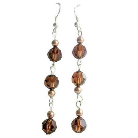 Swarovski Round Crystals Smoked Topaz Chandelier Dangling Earrings